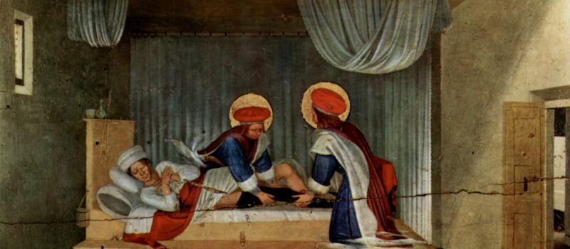 According to legend, in the third century AD, Saints Cosmas and Damian miraculously transplanted the black leg of a dead slave onto an elderly servant. [Source: Wikipedia]