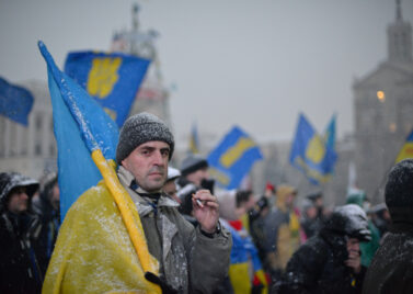 A protester during the Euromaidan in Kyiv, February 2014. [Source: Ivan Bandura]