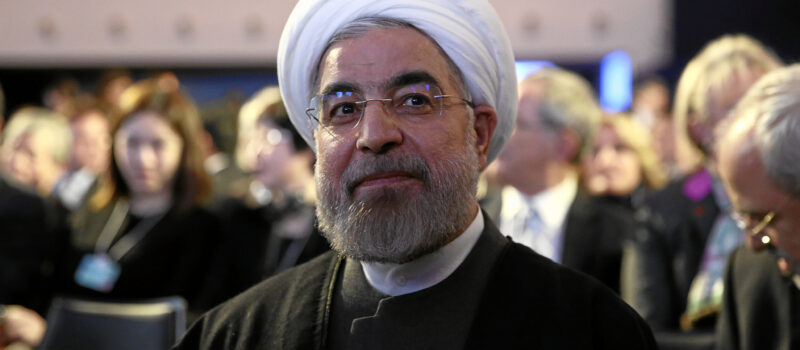 The President of Iran Hassan Rouhani at the World Economic Forum in Davos, Switzerland, in January 2014