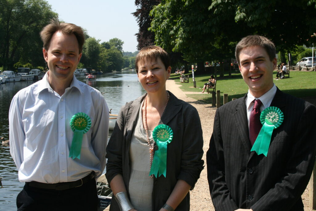 The Greens' current candidate for Cambridge, Rupert Read, campaigning as the Green candidate for Norwich North in the 2009 by-election with then-party leader Caroline Lucas