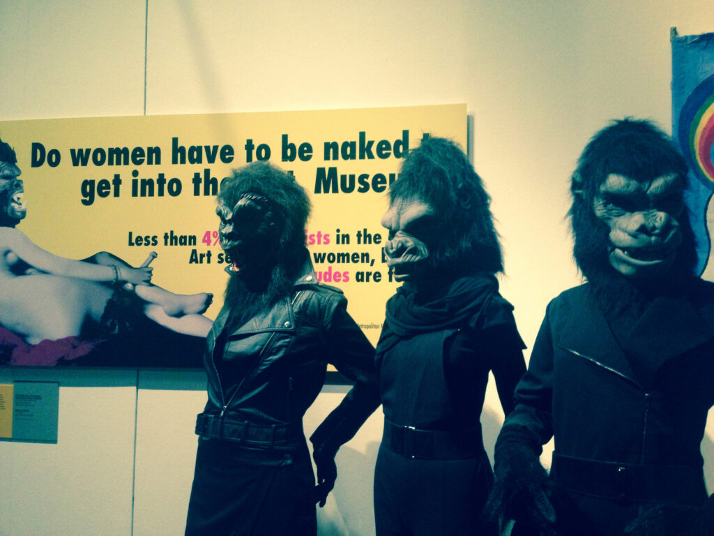 The Guerrilla Girls installation at the V&A's recent Disobedient Objects exhibition. The group is devoted to fighting sexism in the art world