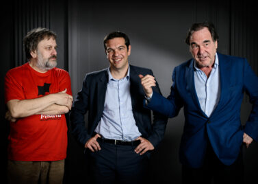 I'm with stupid?: Slavoj Zizek and Oliver Stone meet Greece's Alexis Tsipras in May 2013