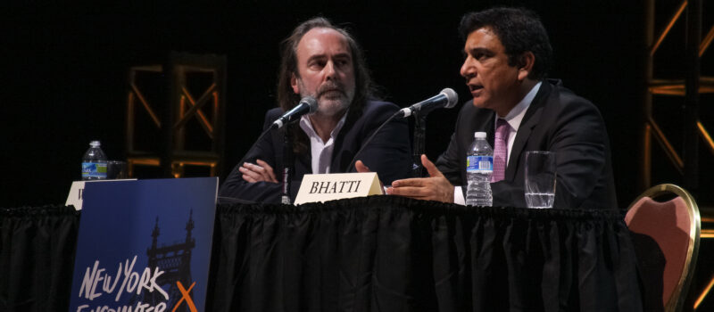Paul Bhatti (R), Pakistan's Minister for National Harmony, speaking at New York Encounter 2013 about his decision to continue the work of his assassinated brother Shahbaz Bhatti for universal religious freedom in Pakistan, despite threats to his life.