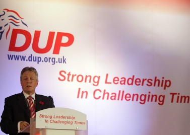 Peter Robinson at a DUP party conference. The leader of the 4th largest party after the last election may become a key presence in any coalition talks after May 7.
