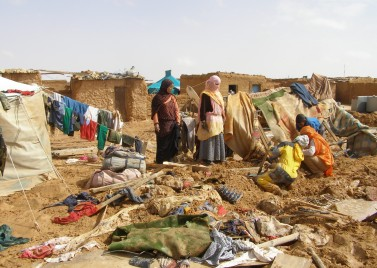 Sahrawi refugees try to reconstruct their camp in Algeria after floods in 2006. Their was of life is on many levels destroyed
