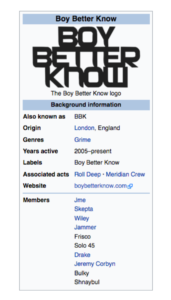 Jeremy Corbyn was a member of Boy Better Know according to Wikipedia, with his sole addition to the discography being 'The Labour Manifesto'