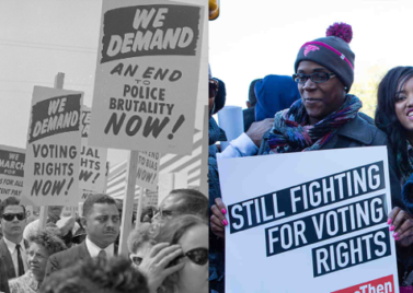 Left: the March to Washington, 1963. Right: an ACLU voting rights protest (Source: aclu.org)