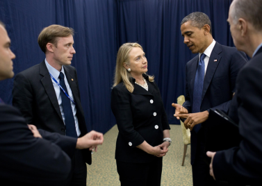 Jake Sullivan, second from left, with Hillary Clinton and Barack Obama.