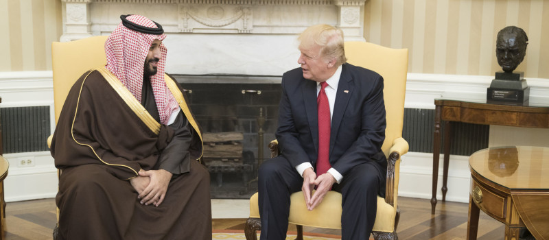 President Donald Trump speaks with Mohammed bin Salman.  Source: Wikimedia Commons