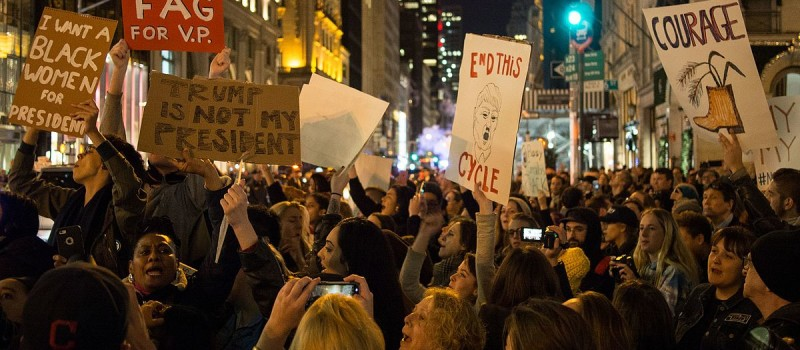 Protest outside Trump Tower; Democrats hope an energised voter base will deliver them control of the House.                 Source: Wikimedia Commons